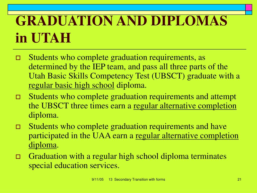 GRADUATION AND DIPLOMAS in UTAH