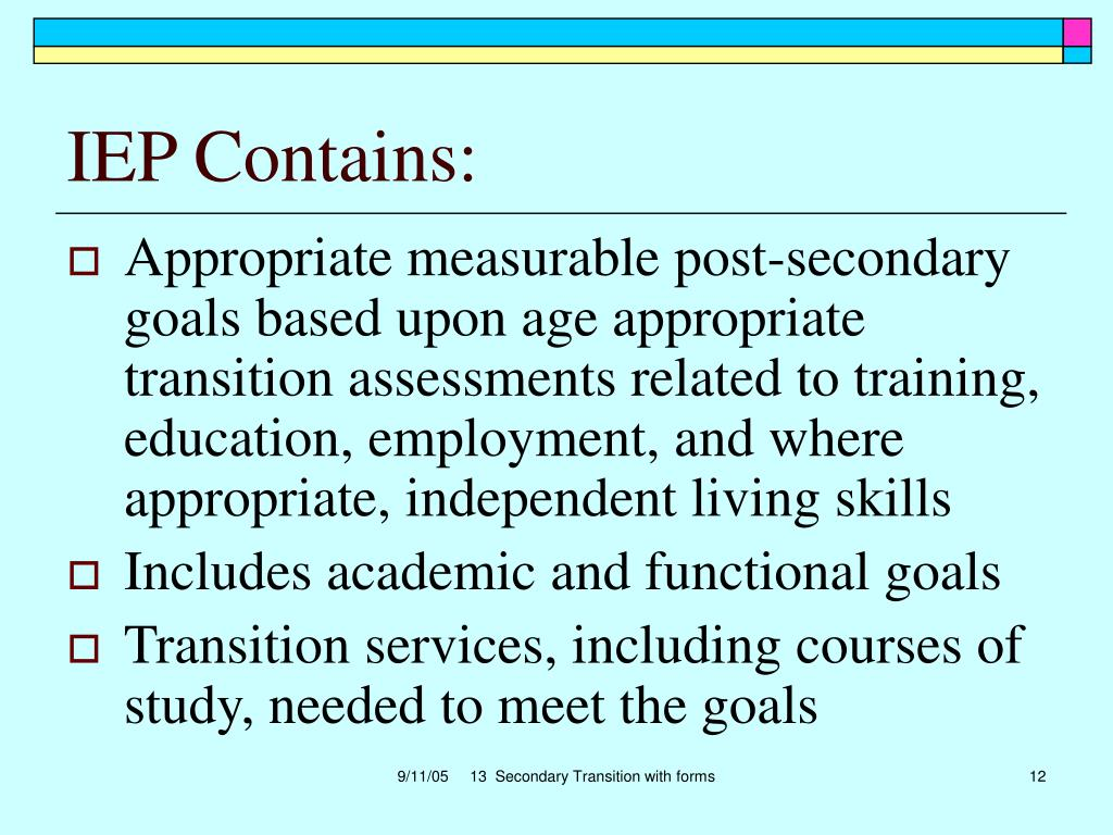 IEP Contains: