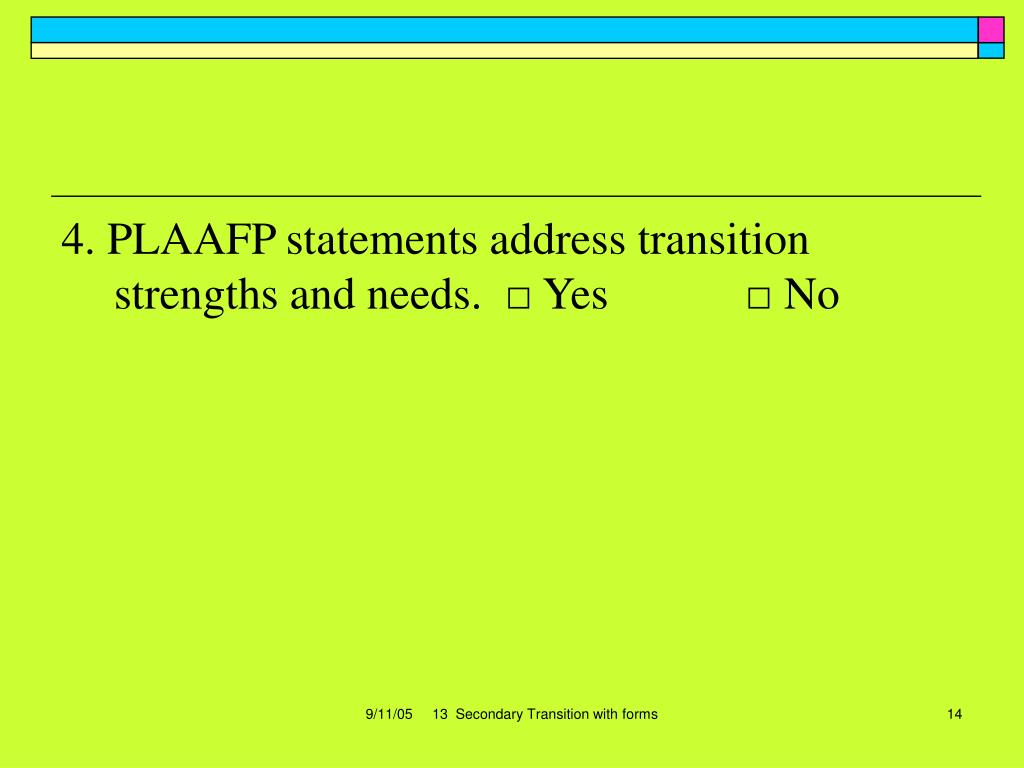 4. PLAAFP statements address transition strengths and needs.  □ Yes            □ No