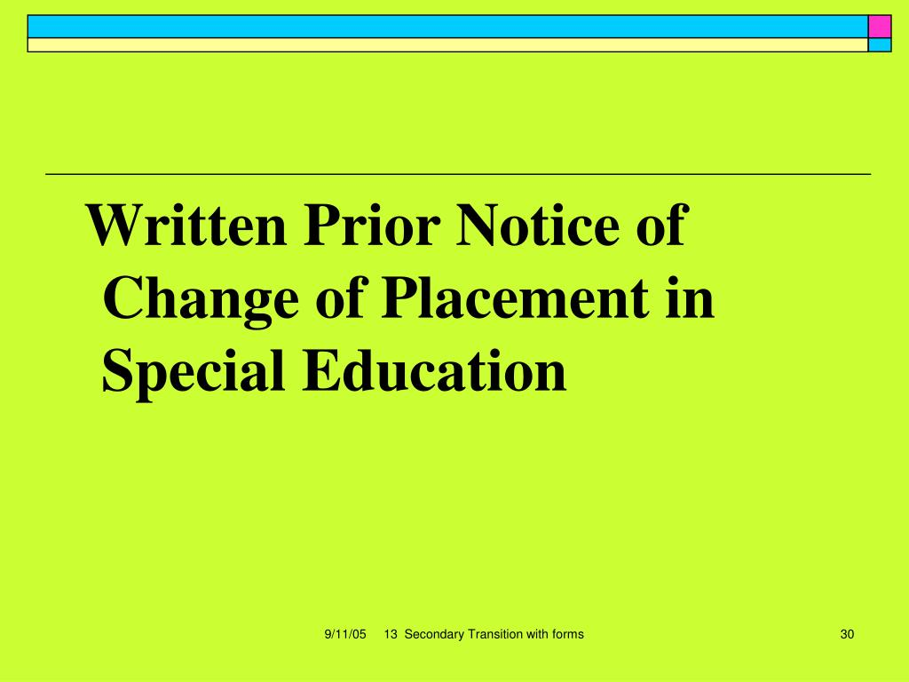 Written Prior Notice of Change of Placement in Special Education