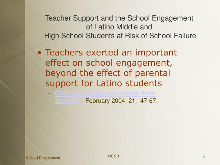 Teacher Support and the School Engagement