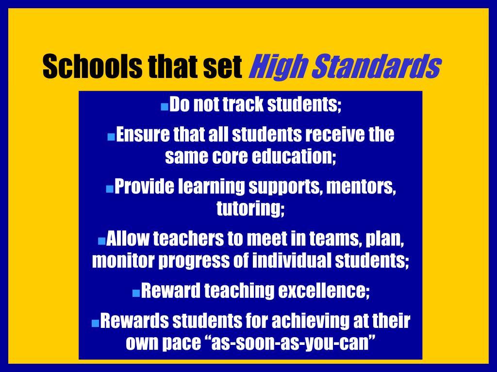 Schools that set