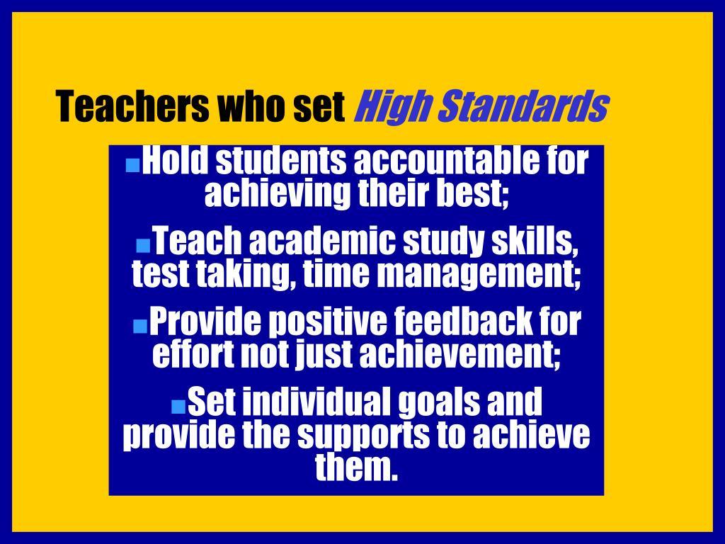 Teachers who set