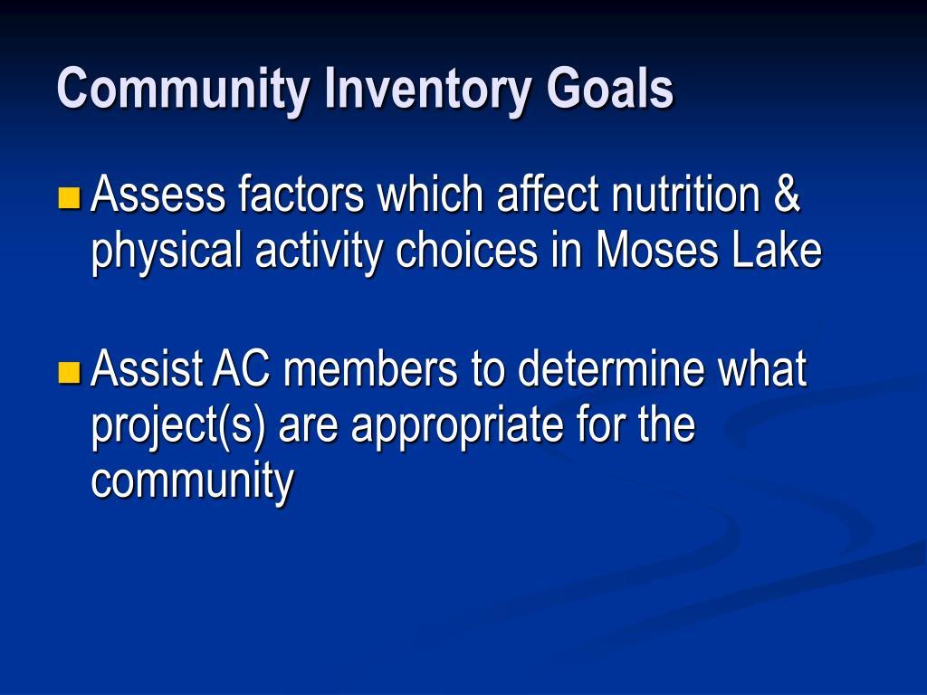 Community Inventory Goals