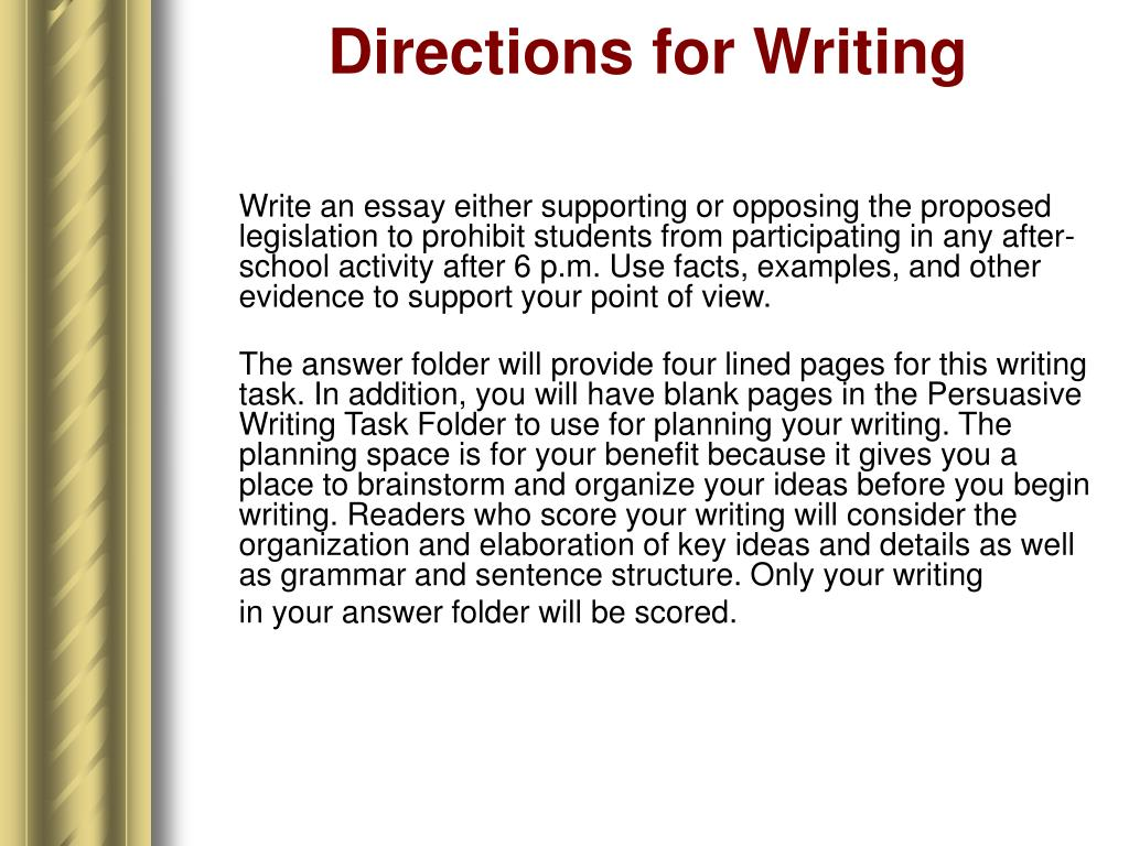 Directions for Writing
