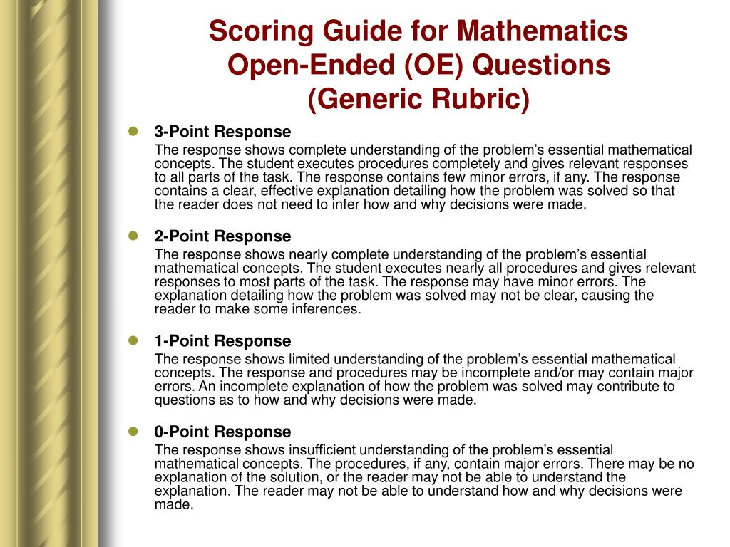 Scoring Guide for Mathematics