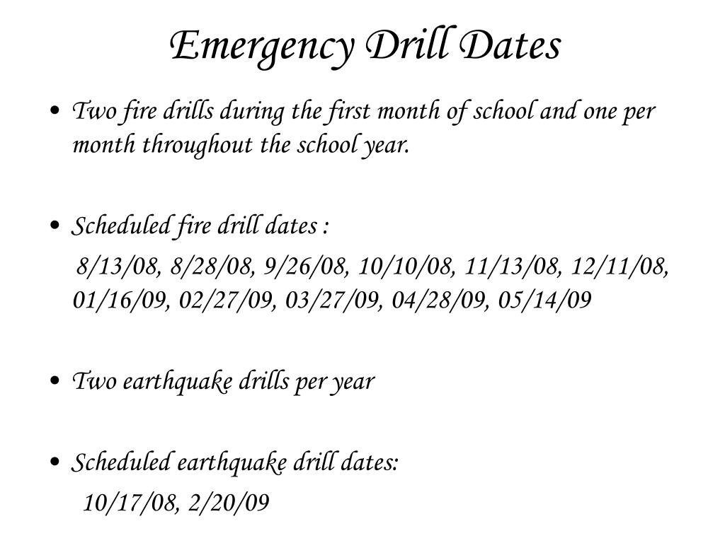 Emergency Drill Dates