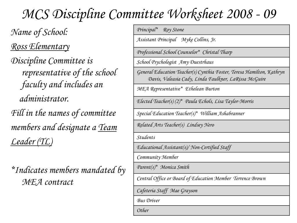 MCS Discipline Committee Worksheet 2008 - 09