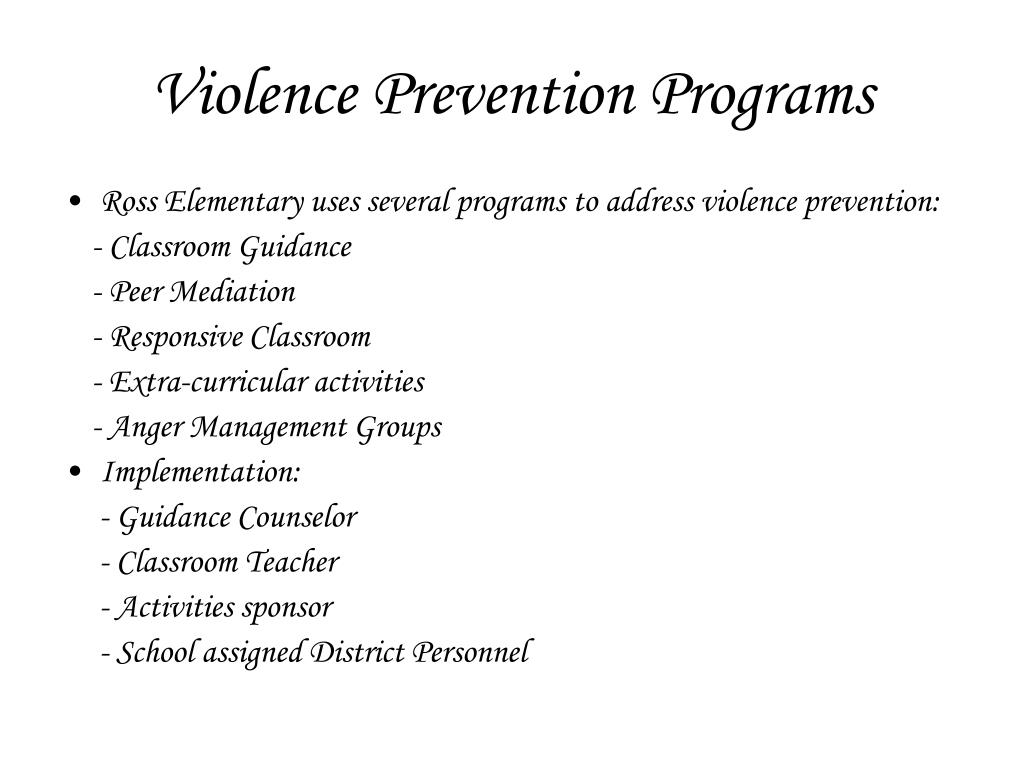 Violence Prevention Programs