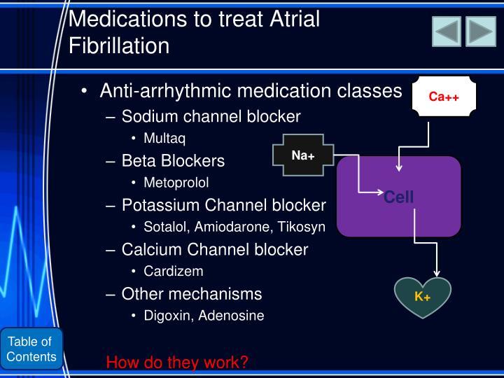 Anti-arrhythmic medication classes