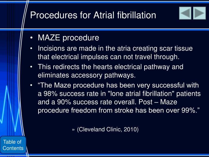 Procedures for Atrial fibrillation