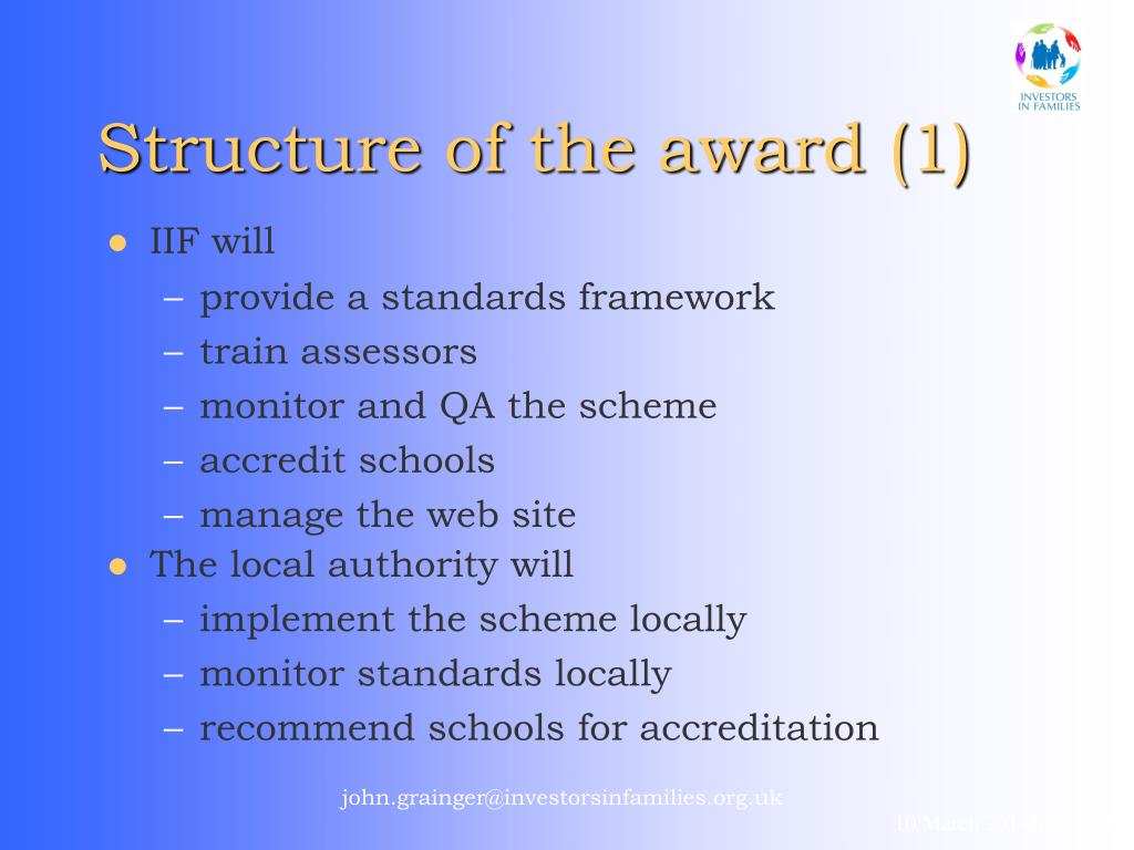 Structure of the award (1)