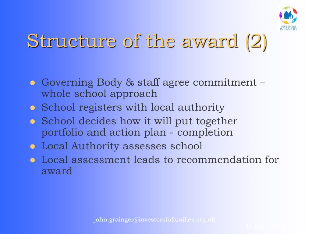 Structure of the award (2)