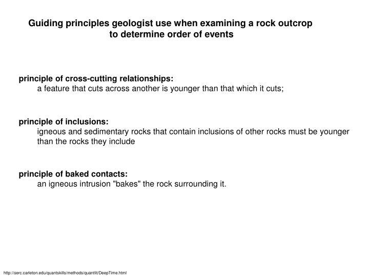 Guiding principles geologist use when examining a rock outcrop