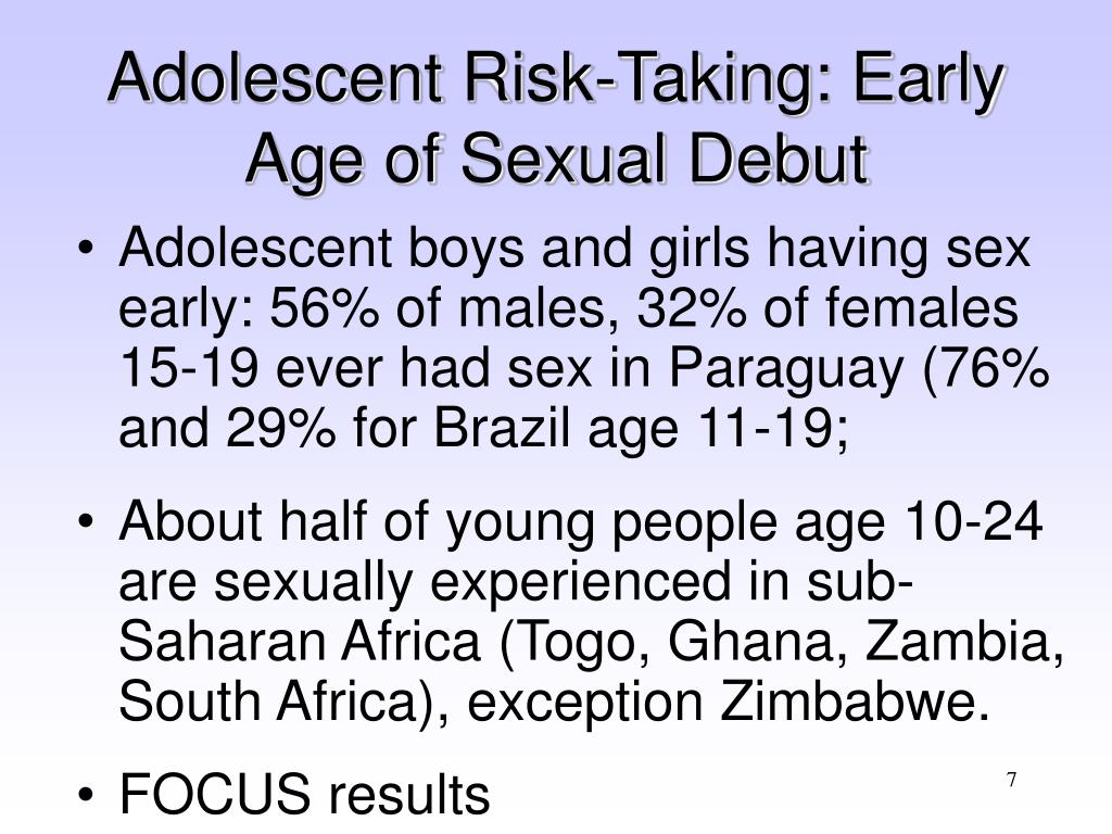Adolescent Risk-Taking: Early Age of Sexual Debut