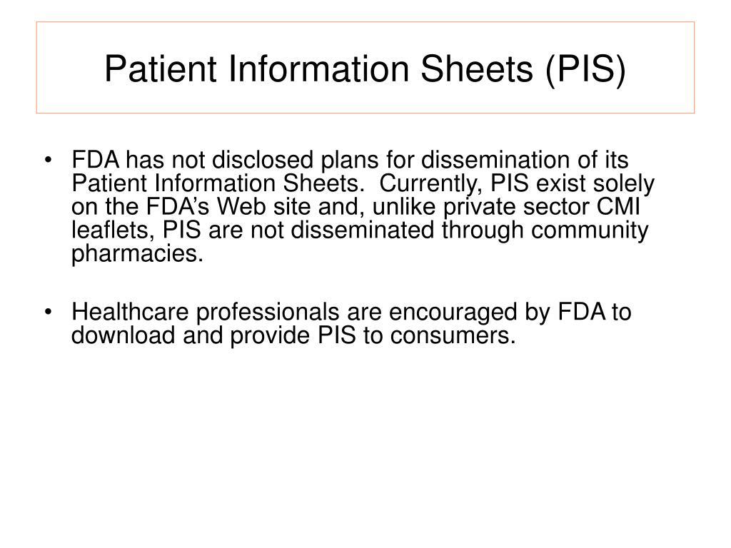 Patient Information Sheets (PIS)