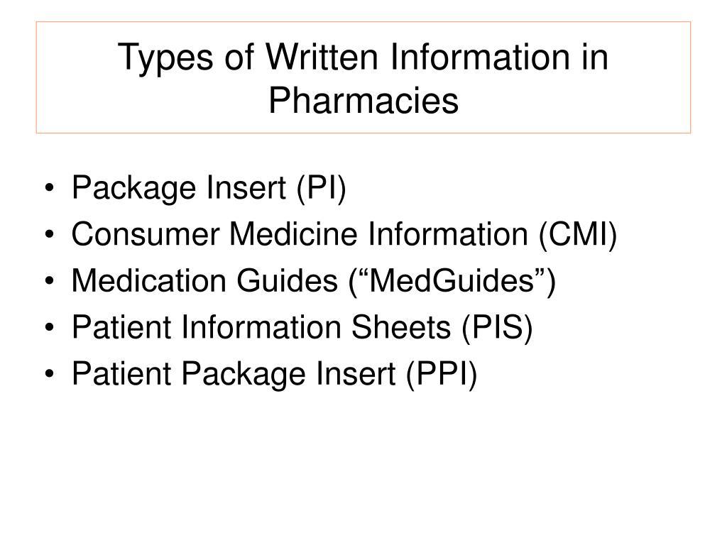 Types of Written Information in Pharmacies