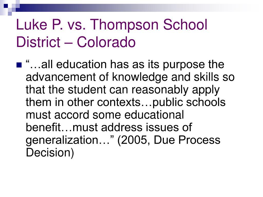 Luke P. vs. Thompson School District – Colorado