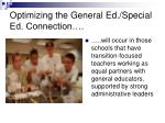 optimizing the general ed special ed connection