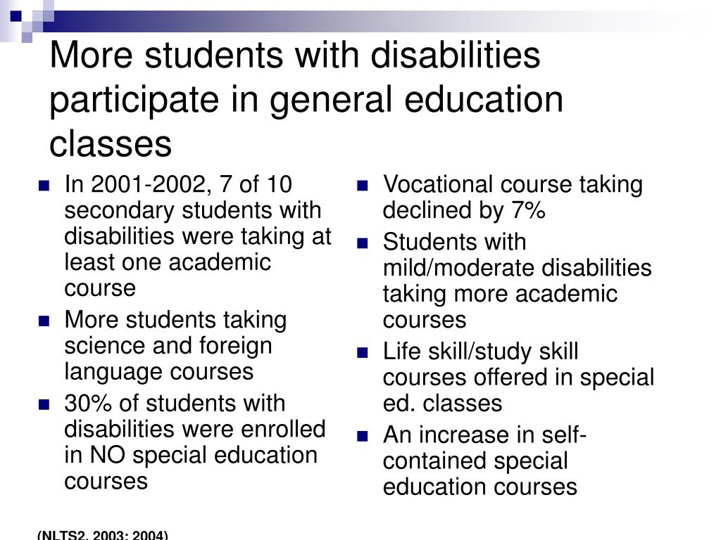 More students with disabilities participate in general education classes