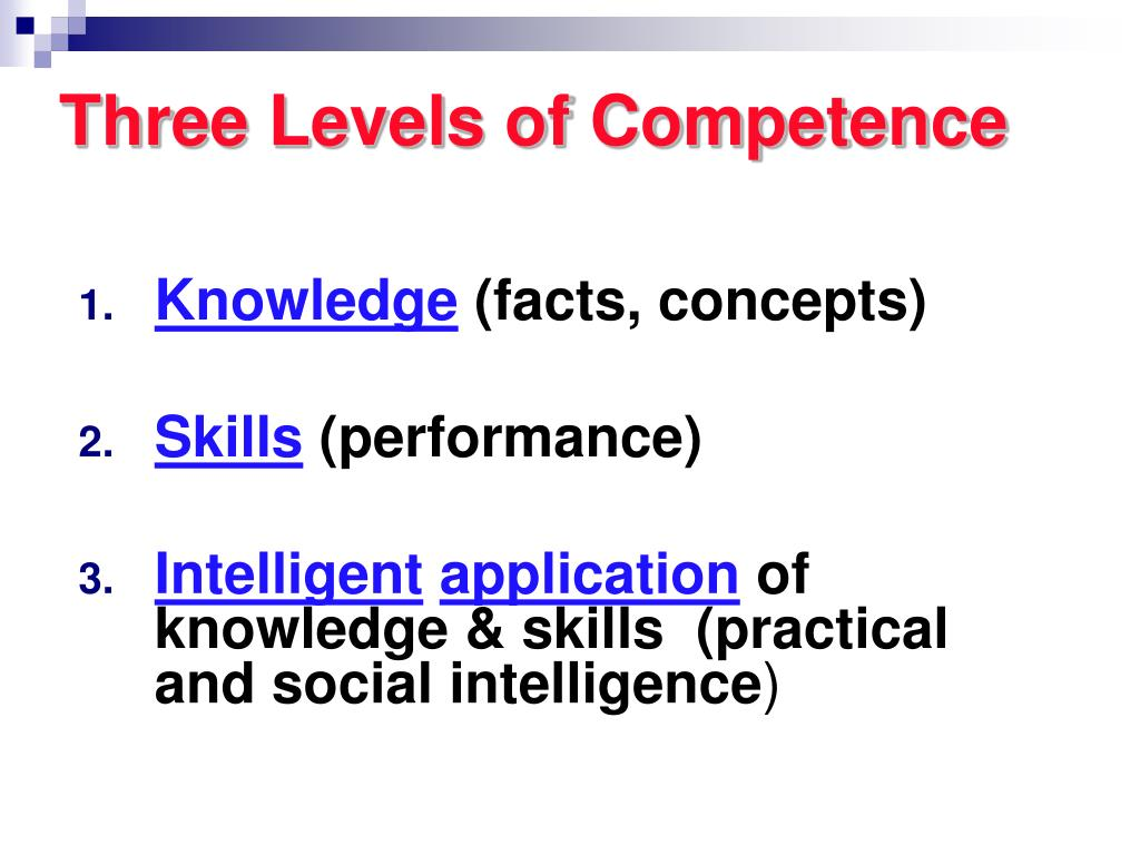 Three Levels of Competence