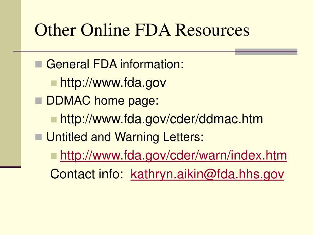Other Online FDA Resources
