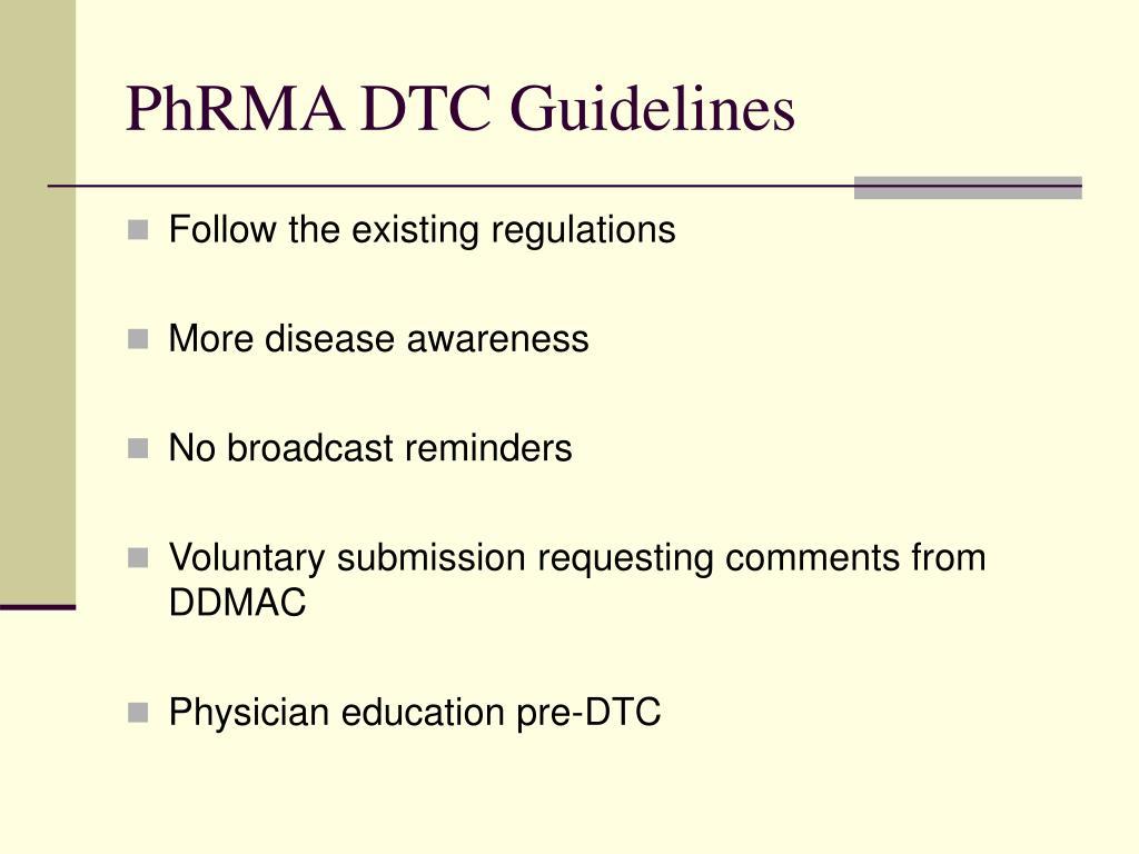 PhRMA DTC Guidelines
