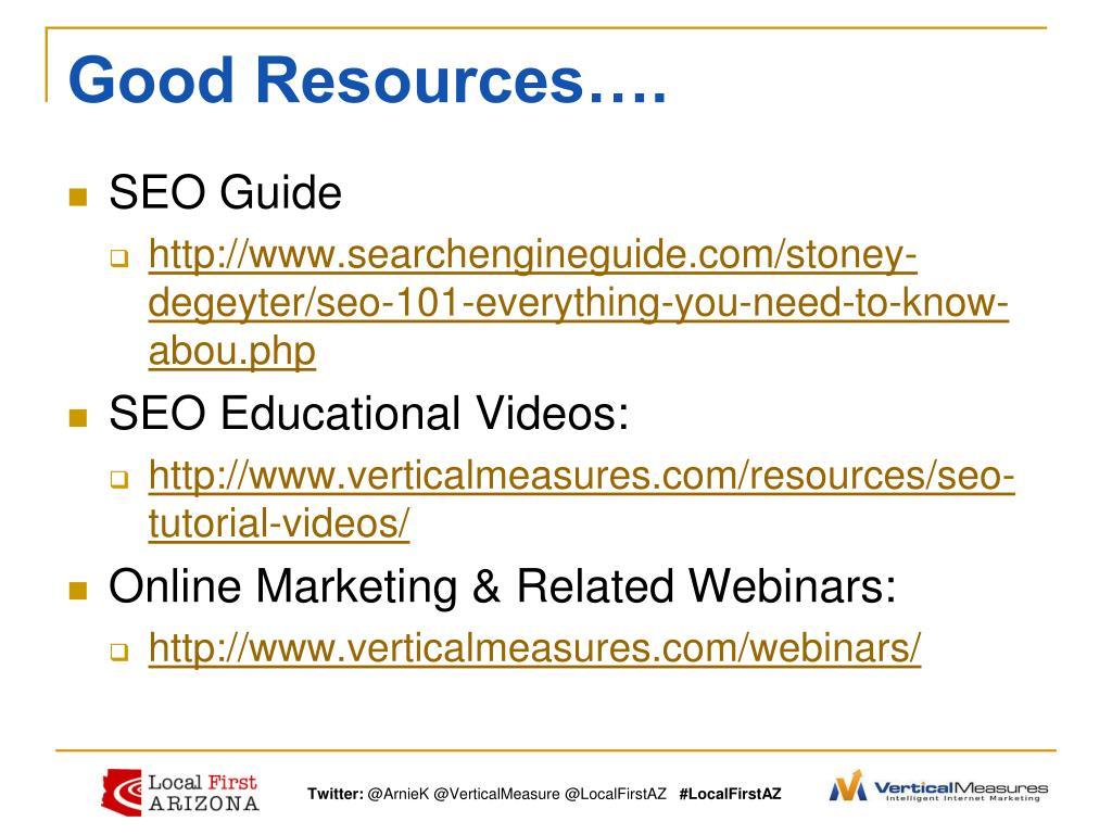 Good Resources….