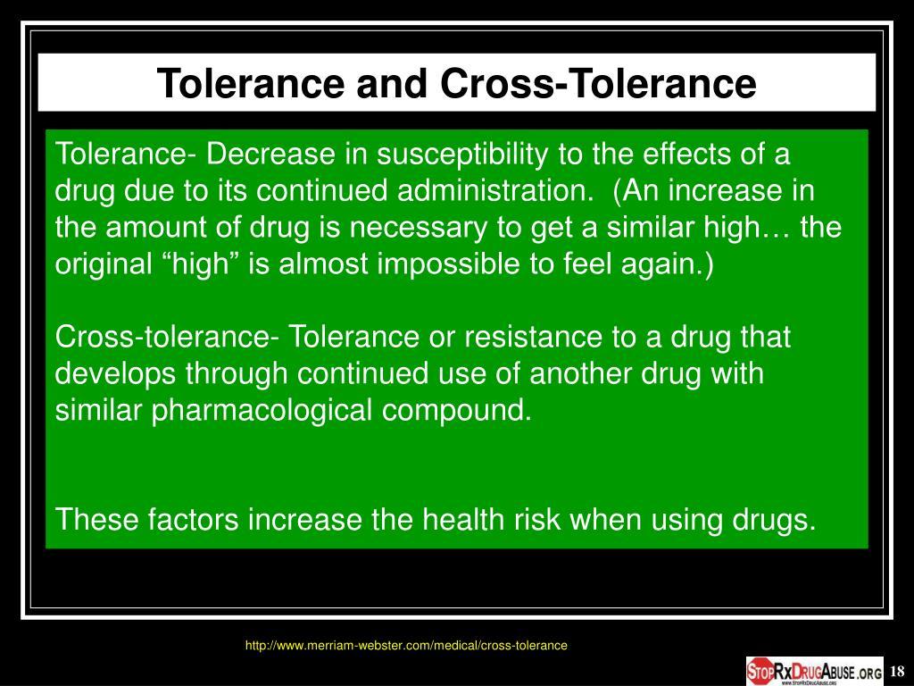 Tolerance and Cross-Tolerance