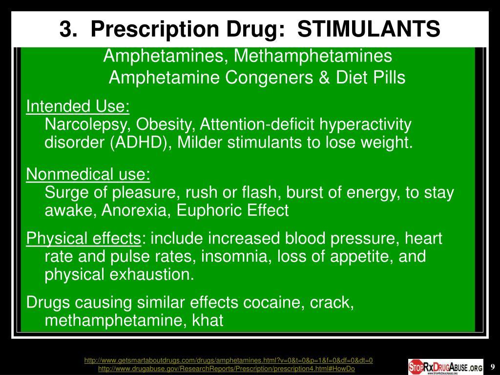 3.  Prescription Drug:  STIMULANTS