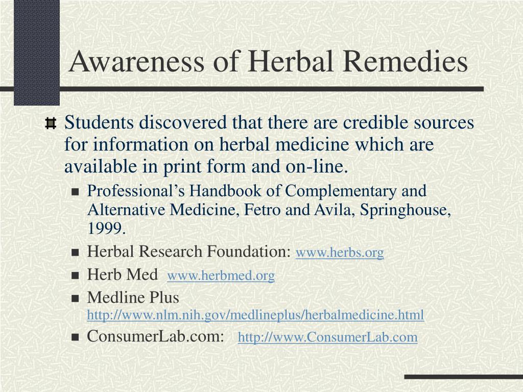 Awareness of Herbal Remedies