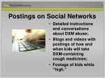 postings on social networks