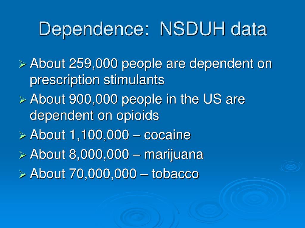 Dependence:  NSDUH data