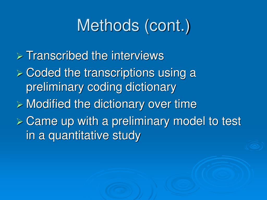 Methods (cont.)