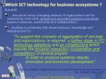 which ict technology for business ecosystems