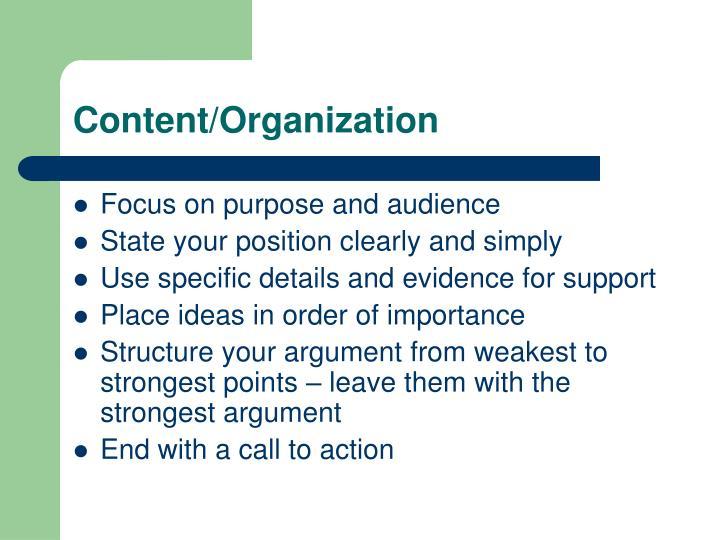 Content/Organization