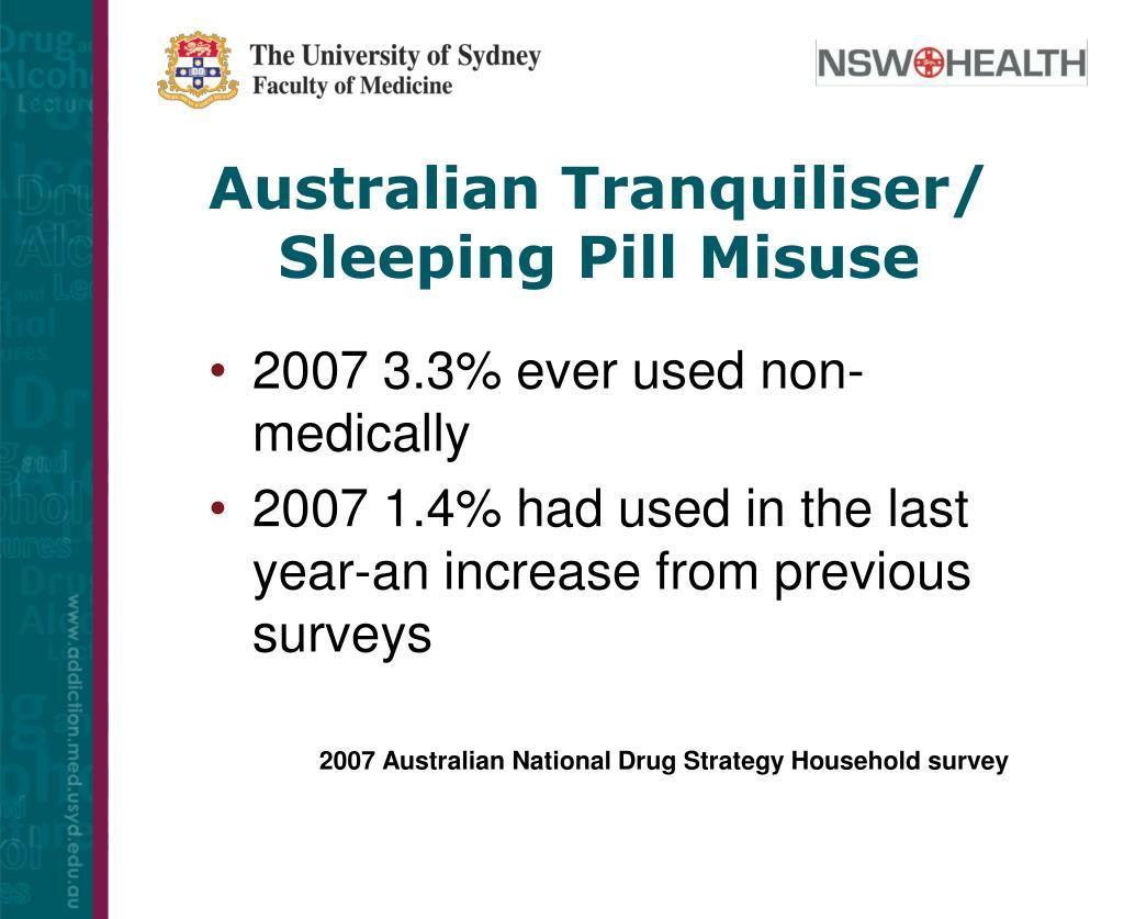 Australian Tranquiliser/ Sleeping Pill Misuse