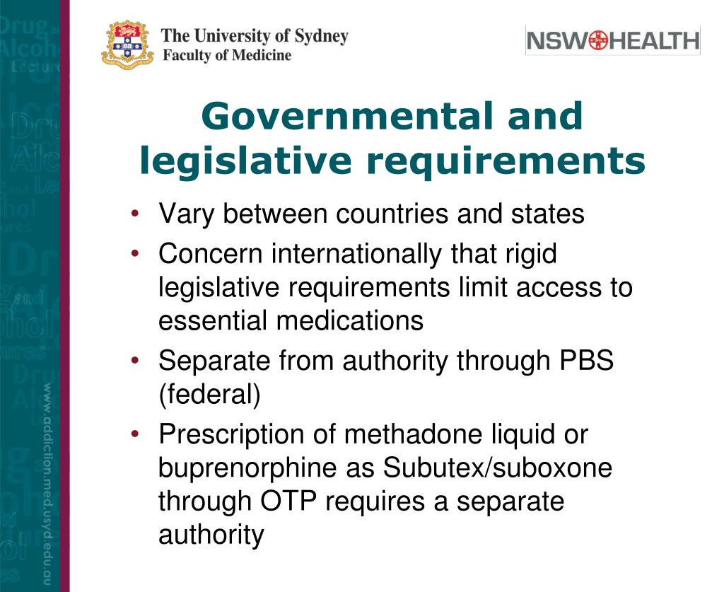Governmental and legislative requirements