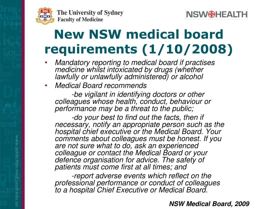 New NSW medical board requirements (1/10/2008)