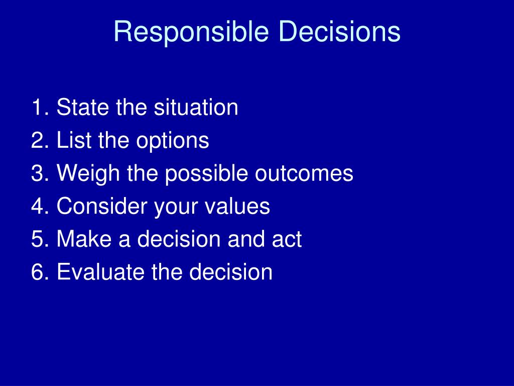 Responsible Decisions
