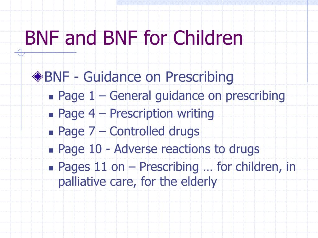 BNF and BNF for Children