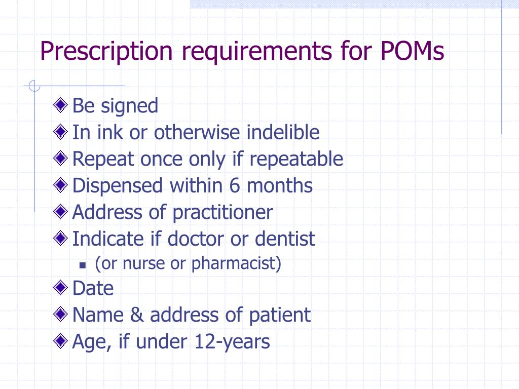Prescription requirements for POMs