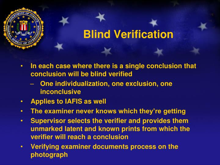 Blind Verification