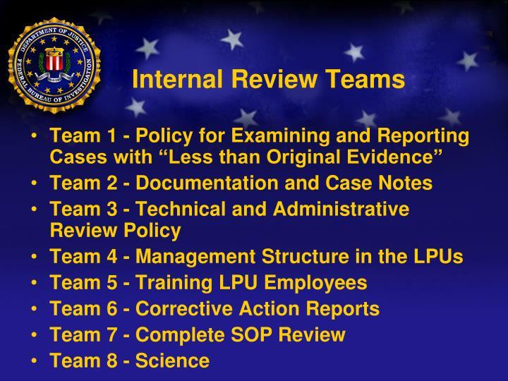 Internal Review Teams