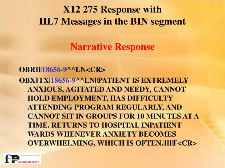 X12 275 Response with