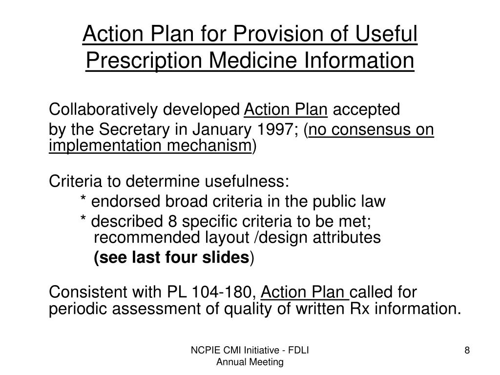 Action Plan for Provision of Useful Prescription Medicine Information