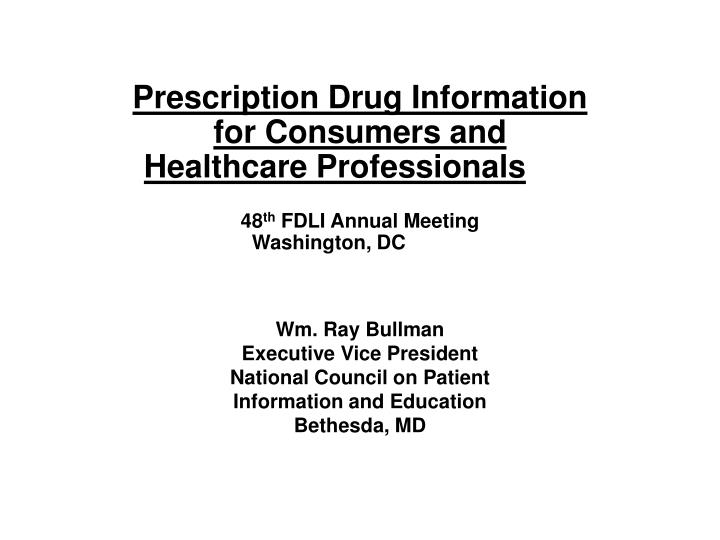 Prescription Drug Information