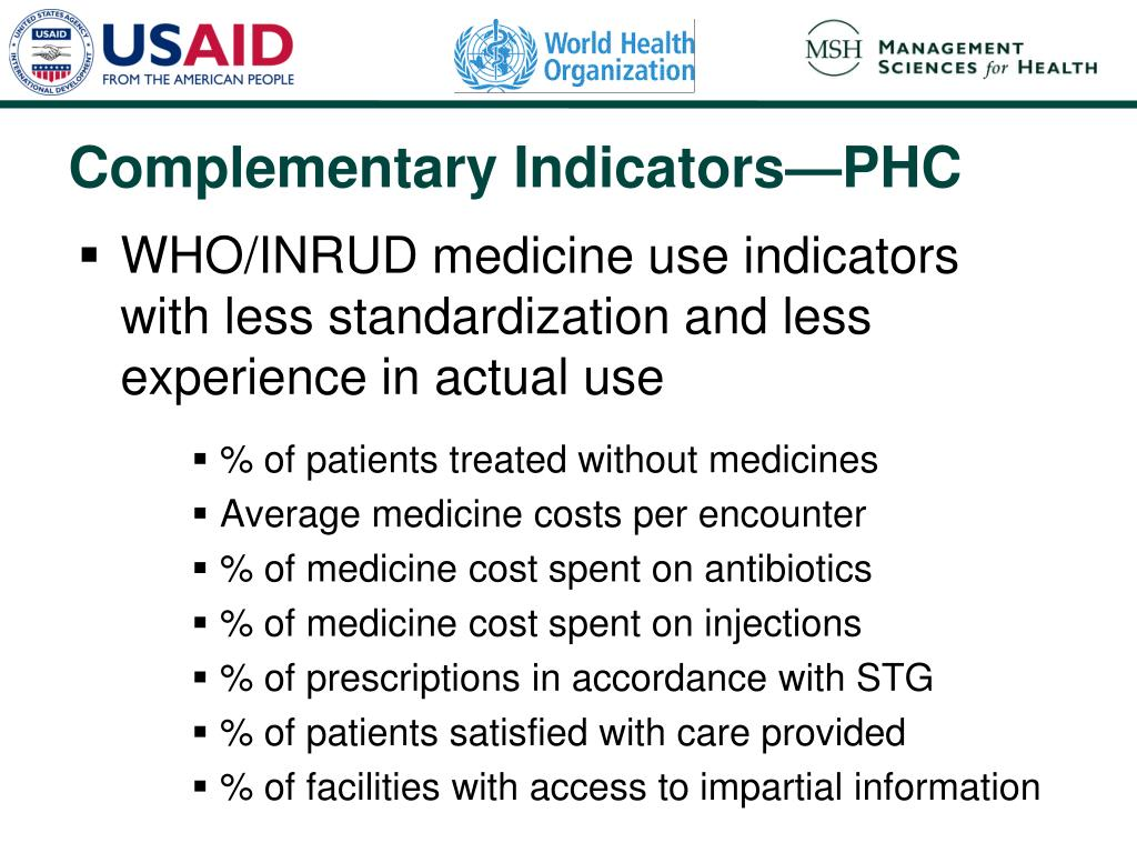 WHO/INRUD medicine use indicators with less standardization and less experience in actual use