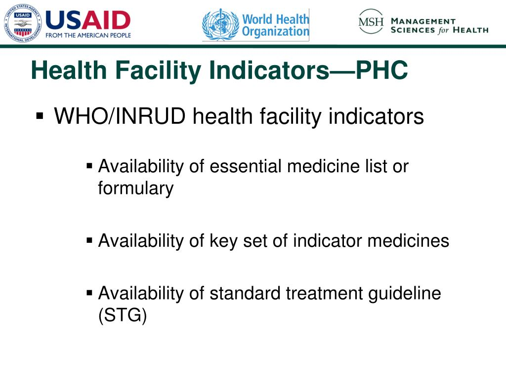 WHO/INRUD health facility indicators