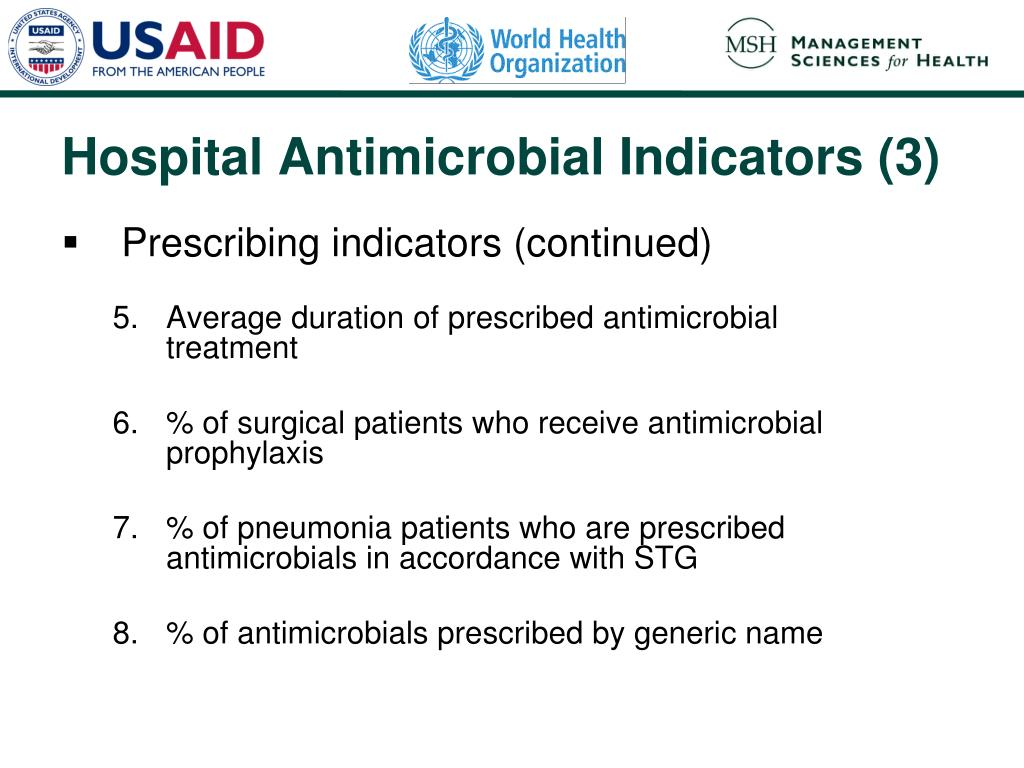 Prescribing indicators (continued)